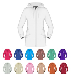 Plain hooded jacket template vector image vector image