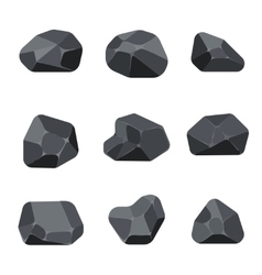 Polygonal stones rock graphite coal elements for vector