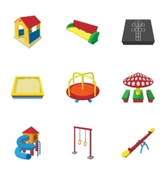 Types of games in yard icons set cartoon style vector