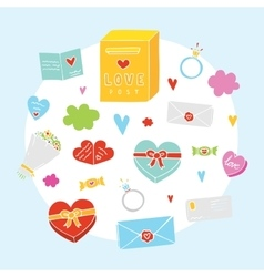 Valentines day cartoon objects set vector