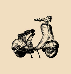 hand sketched scooter vintage retro vector image