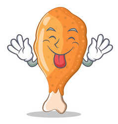 Tongue out fried chicken character cartoon vector