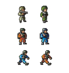 Pixel soldier vector