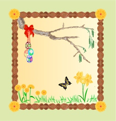 Frame easter eggs and a birch twig and butterfly vector