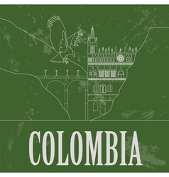 Colombia landmarks retro styled image vector