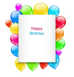 Birthday postcard with colorful balloons with text vector
