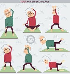 Elderly people yoga lifestlye vector image