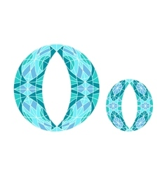 Low poly letter o in blue mosaic polygon vector