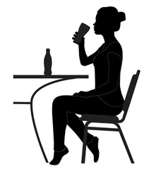 Cafe girl drinking sihouette vector