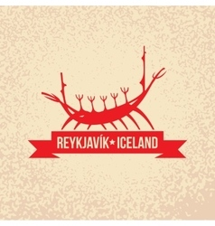 Viking boat the symbol of reykjavik iceland vector