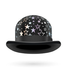 Black starred bowler hat vector
