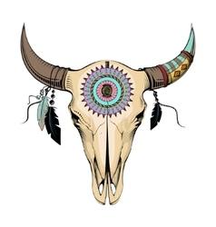 Bull skull ethnic style vector