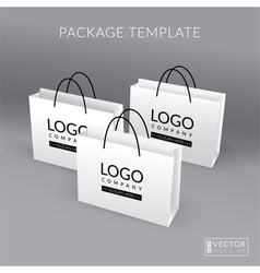 White realistic paper bag template vector