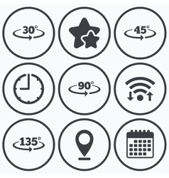 Angle degrees icons geometry math signs vector