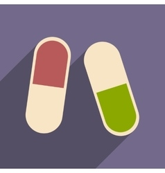 Flat with shadow icon and mobile application pills vector
