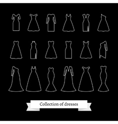 Dresses line icons vector