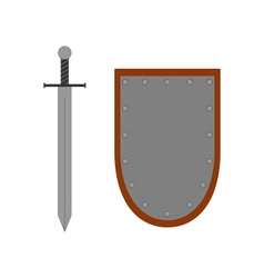 Set of sign shield and sword silver 2707 vector