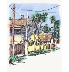 Original digital graphic of village composition vector