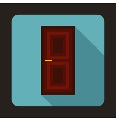Brown door icon in flat style vector