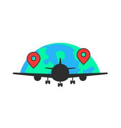 Black airplane like global airlines vector