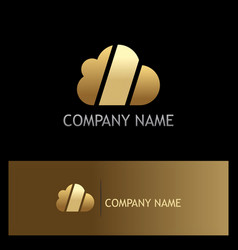 cloud technology shape gold logo vector image