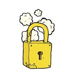Comic cartoon rusty lock vector