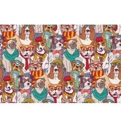 Cute dog fashion hipster seamless pattern vector