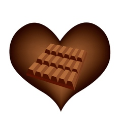 Delicious Chocolates Bar in Lovely Heart Shape vector image vector image