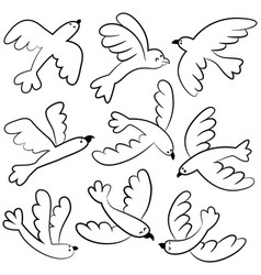 Doodle cute flying birds icon set vector