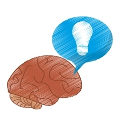 drawing brain thinking idea blue bubble vector image