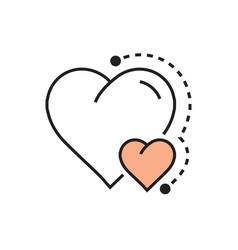 Flat heart mini icon dots style vector