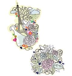 Floral paris elements vector image