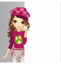 Girl In Hat Hold Banner vector image