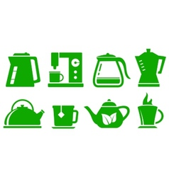 green icons kettle set vector image