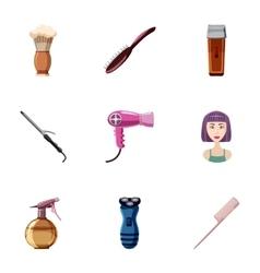 Hair cut icons set cartoon style vector