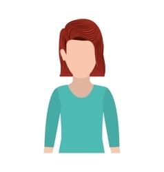 half body silhouette woman with redhair vector image