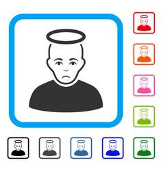 Holy man framed sad icon vector