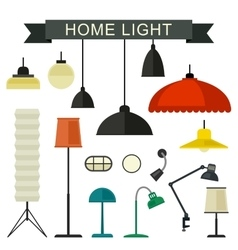 Home light icons set vector image