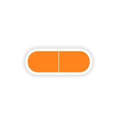 Icon sticker realistic design on paper pill vector