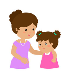 Kind mom soothes crying daughter vector