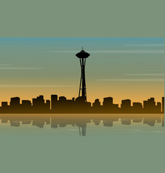 Landscape of seattle space needle tower silhouette vector