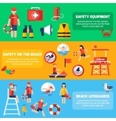 Life guard flat banners set vector