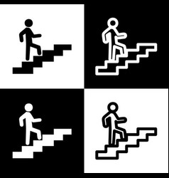 Man on stairs going up black and white vector