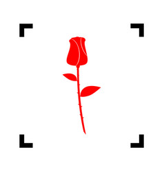 Rose sign red icon inside vector