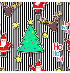 santa clause deer tree star seamless pattern vector image vector image
