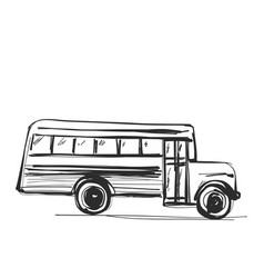 school bus icon outlined on white background vector image