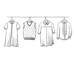 School uniform clothes on the hanger vector