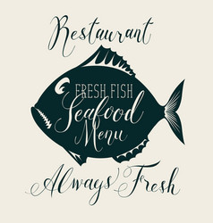 seafood menu with decorative fish and inscriptions vector image vector image