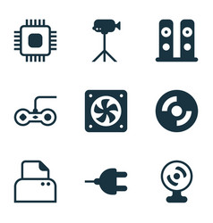 Set of 9 computer hardware icons includes blank vector