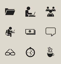 set of 9 editable office icons includes symbols vector image vector image